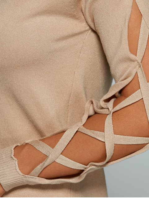ladies Cutout Sleeve Sweater - NUDE ONE SIZE Mobile