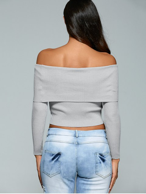 new Foldover Off Shoulder Jumper - GRAY S Mobile