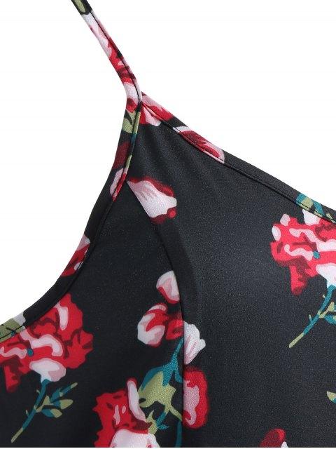 trendy Cami Fitting Floral Print Dress - BLACK L Mobile