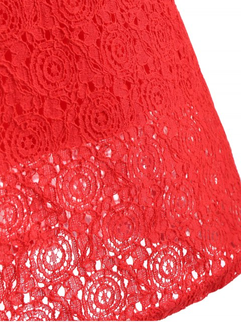 women's Beaded Flat Collar Spliced Lace Dress - RED M Mobile