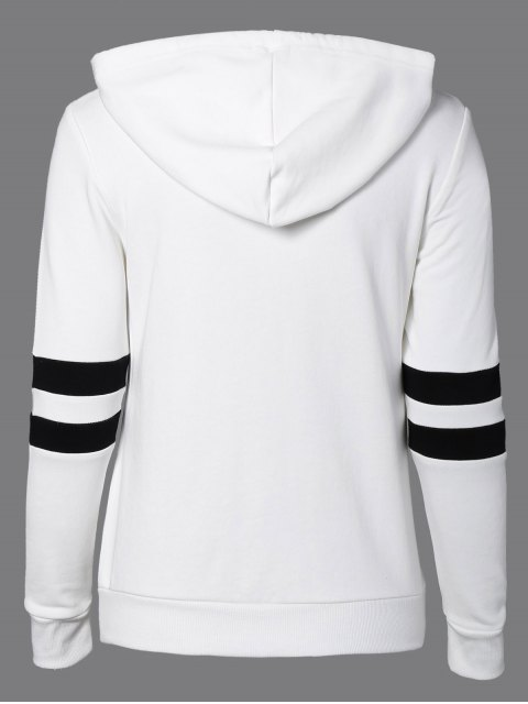 online Sports Color Block Hoodie - WHITE M Mobile