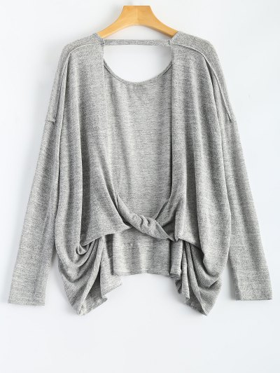 Back Cutout Long Sleeve T-Shirt - Gray