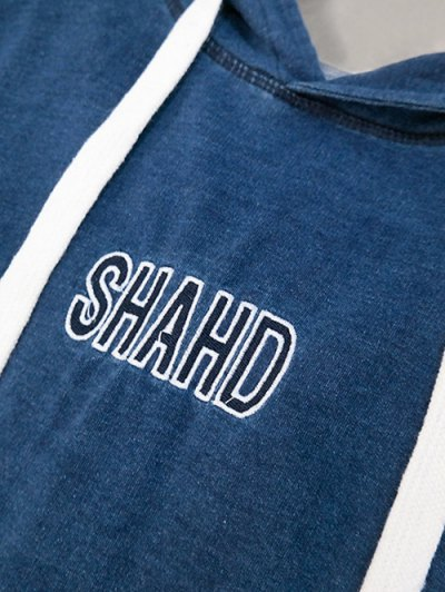 Shahd Embroidered Pullover Hoodie Dress - BLUE ONE SIZE Mobile