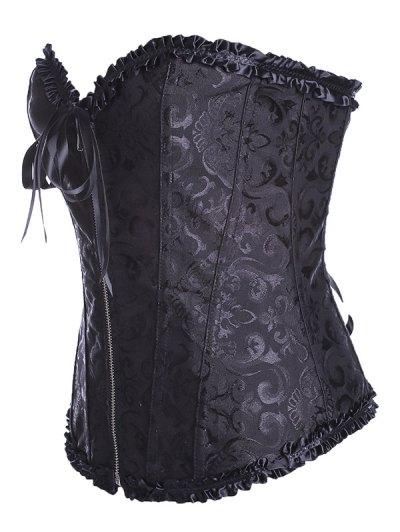 Retro Zipped Lace Up Corset - BLACK 6XL Mobile