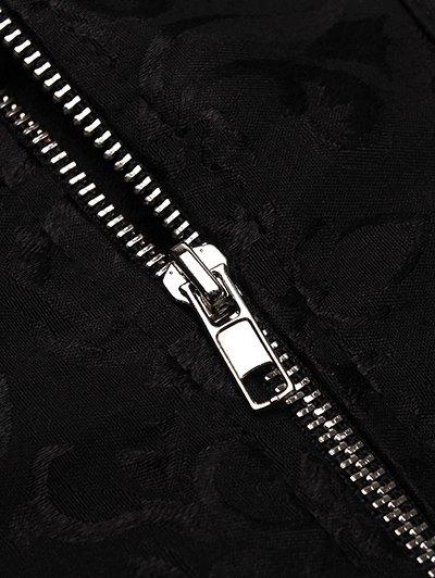 Retro Zipped Lace Up Corset - BLACK 5XL Mobile