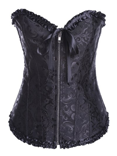 Retro Zipped Lace Up Corset - BLACK 2XL Mobile