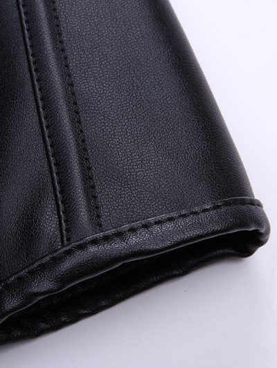 Artificial Leather Halter Cupless Corset - BLACK L Mobile
