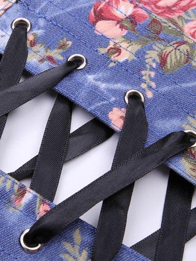 Denim Floral  Back Lace Up Corset - DENIM BLUE M Mobile