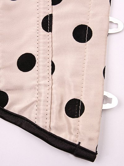 Lace Up Polka Dot  Corset - APRICOT S Mobile