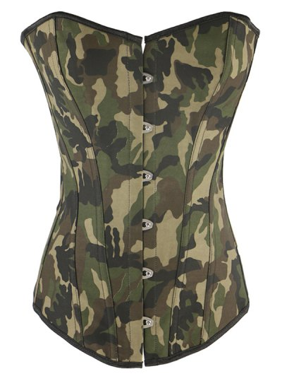 Steel Boned Camo Lace Up Corset - CAMOUFLAGE 3XL Mobile