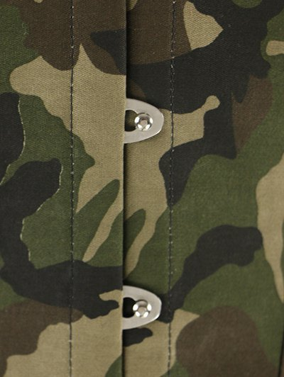 Steel Boned Camo Lace Up Corset - CAMOUFLAGE 2XL Mobile