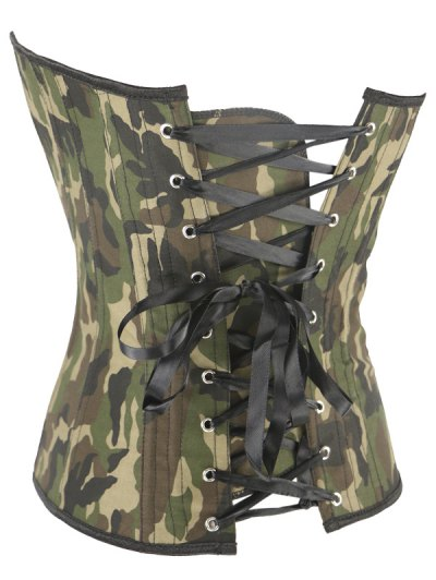 Steel Boned Camo Lace Up Corset - CAMOUFLAGE L Mobile