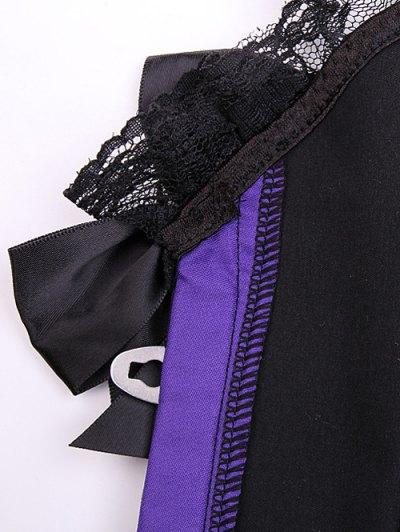 Retro Lace Spliced Corset - PURPLE 2XL Mobile
