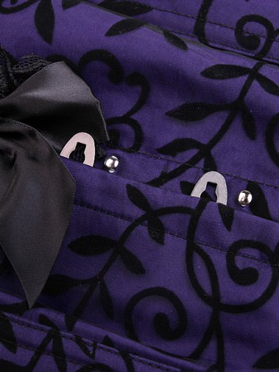 Retro Lace Spliced Corset - PURPLE XL Mobile