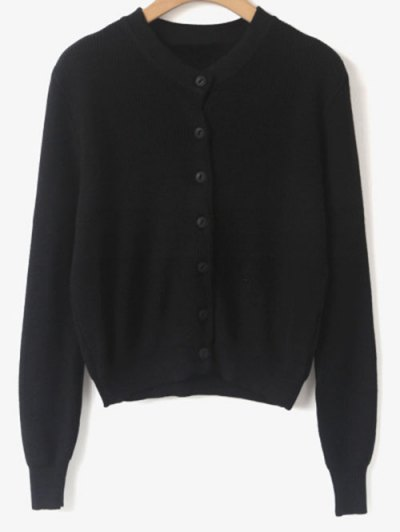 Cropped Single-Breasted Knitwear - BLACK ONE SIZE Mobile