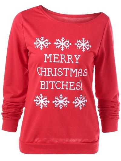Merry Christmas Snowflake Print Sweatshirt - RED L Mobile