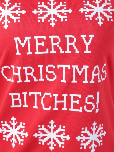 Merry Christmas Snowflake Print Sweatshirt - RED M Mobile
