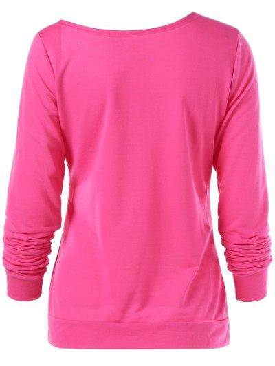 Merry Christmas Snowflake Print Sweatshirt - ROSE RED L Mobile