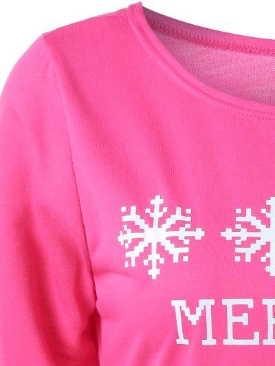 Merry Christmas Snowflake Print Sweatshirt - ROSE RED M Mobile
