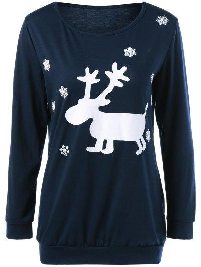 Christmas Deer Print Snowflake Sweatshirt - PURPLISH BLUE XL Mobile