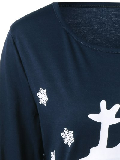 Christmas Deer Print Snowflake Sweatshirt - PURPLISH BLUE L Mobile