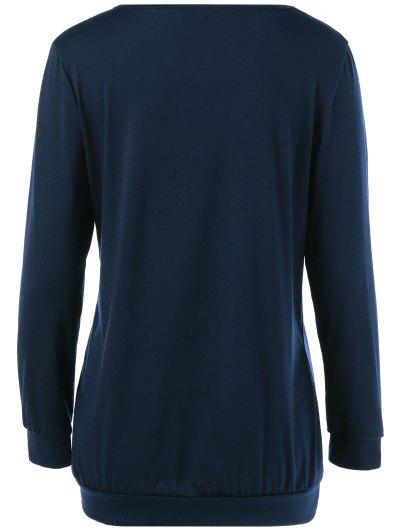 Christmas Deer Print Snowflake Sweatshirt - PURPLISH BLUE S Mobile