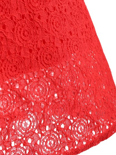 Beaded Flat Collar Spliced Lace Dress - RED L Mobile