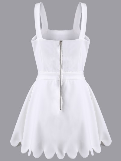 Cut Out Scalloped A-Line Dress - WHITE XL Mobile