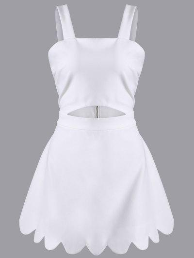 Cut Out Scalloped A-Line Dress - WHITE L Mobile