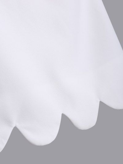 Cut Out Scalloped A-Line Dress - WHITE M Mobile