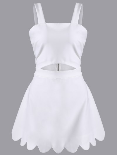 Cut Out Scalloped A-Line Dress - WHITE S Mobile