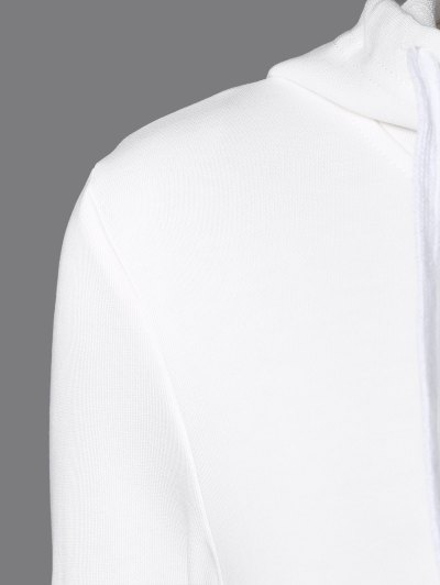 Sports Color Block Hoodie - WHITE M Mobile