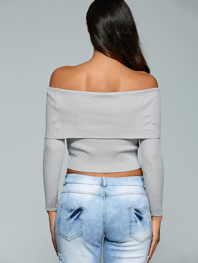 Foldover Off Shoulder Jumper - GRAY S Mobile