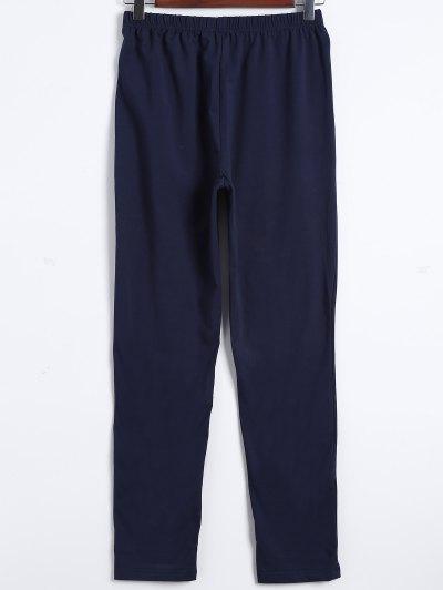 Striped Bunny Print High Low Pajama Set - WHITE M Mobile