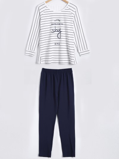 3/4 Sleeves Striped T-Shirt and Pants Sleepwear - WHITE XL Mobile