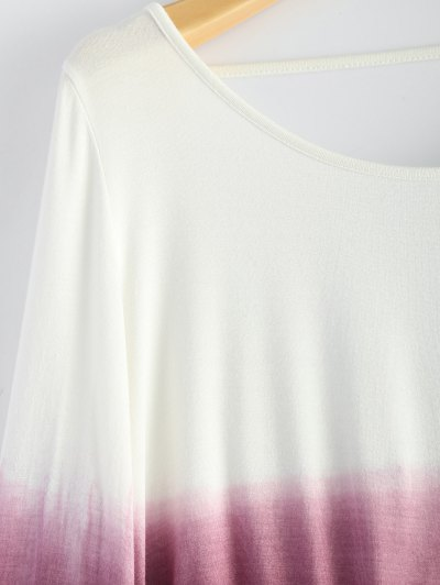 Ombre Backless T-Shirt - RED WITH WHITE L Mobile