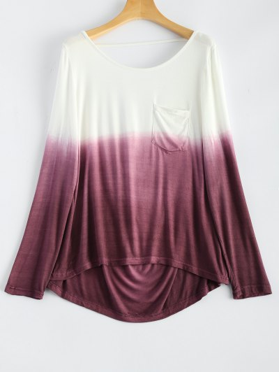 Ombre Backless T-Shirt - RED WITH WHITE S Mobile
