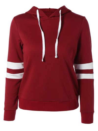 Sports Color Block Hoodie - Red