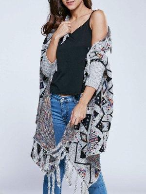 Jacquard Knit Tassels Dolman Cardigan - Gray
