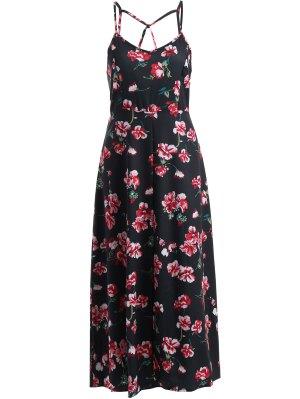 Cami Fitting Floral Print Dress - Black