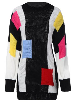 Color Block Longline Sweater - Black