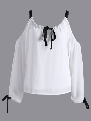 Cold Shoulder Pussy Bow Blouse - White