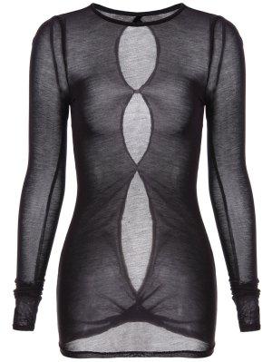 See-Through Round Neck T-Shirt - Black