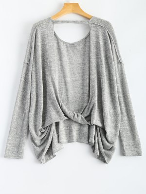 Back Cutout Long Sleeve T-Shirt - Gray