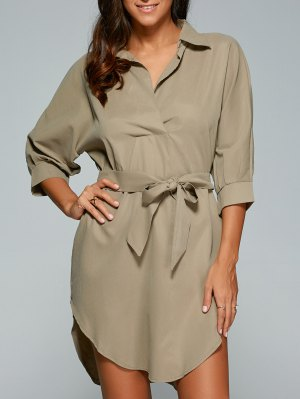 Self Tie Shirt Dress - Khaki