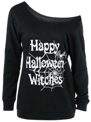Skew Collar Happy Halloween Witches T-Shirt - Black