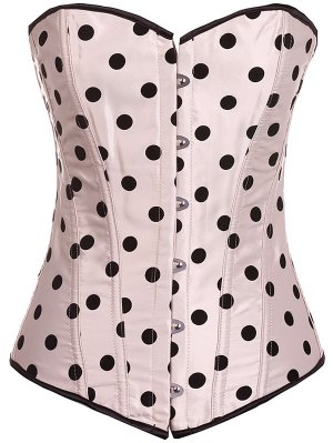 Lace Up Polka Dot  Corset - Apricot