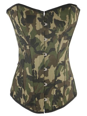 Steel Boned Camo Lace Up Corset - Camouflage