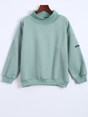 Patch Turtle Neck Sweatshirt - Light Green
