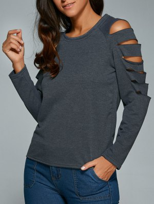 Cut Out Fitting T-Shirt - Gray